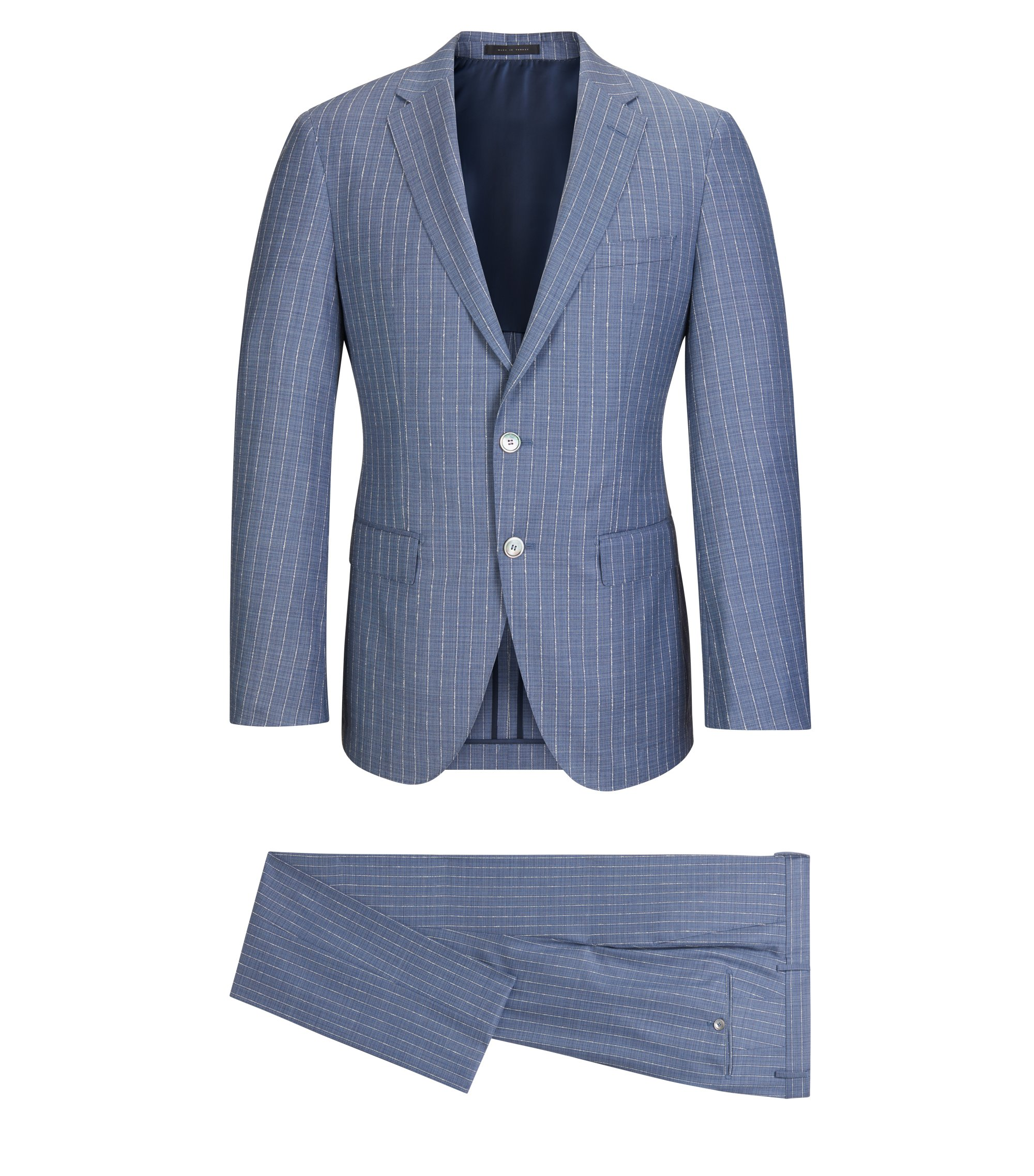 Pinstriped Wool Silk Suit, Slim Fit | T-Harley/Goswin, Turquoise