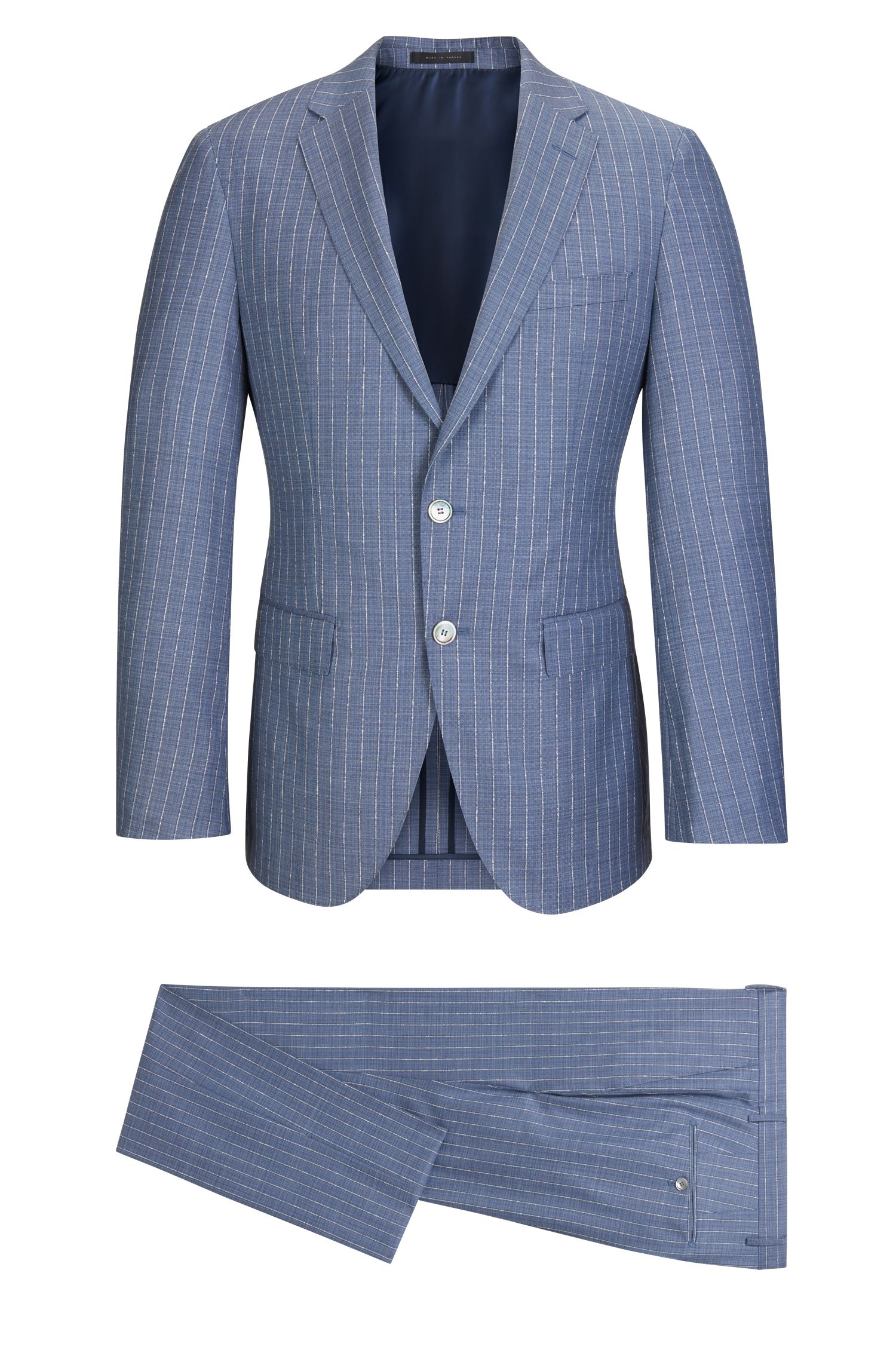 Pinstriped Wool Silk Suit, Slim Fit | T-Harley/Goswin