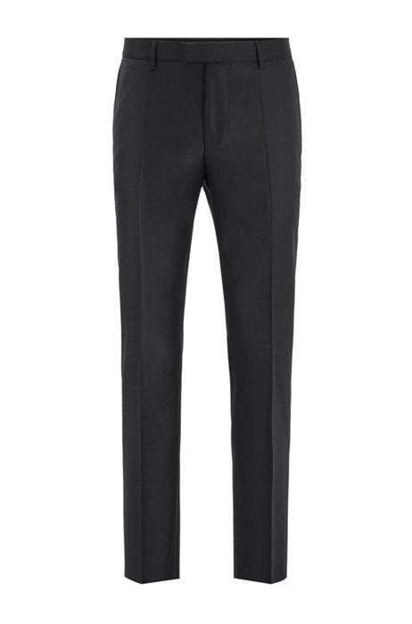 Pantalon business Slim Fit en laine vierge, Noir