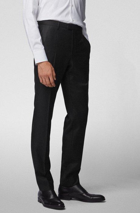 Slim-fit formal pants in virgin wool, Black