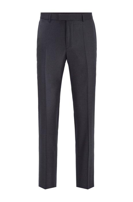 Slim-fit formal pants in virgin wool, Open Grey