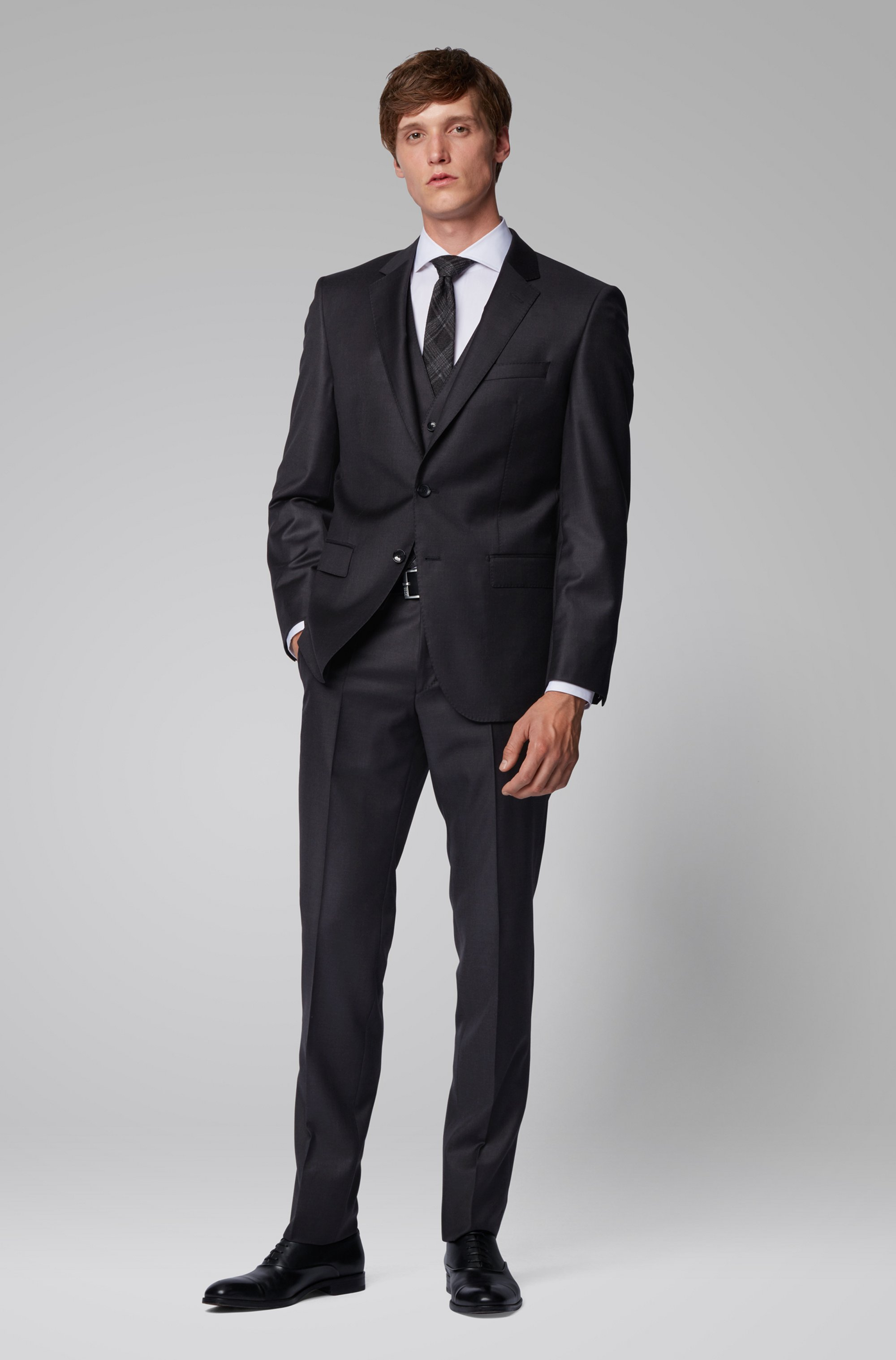 Slim-fit formal pants in virgin wool