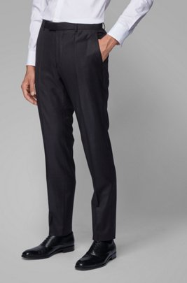 Slim-fit formal pants in virgin wool, Light Grey