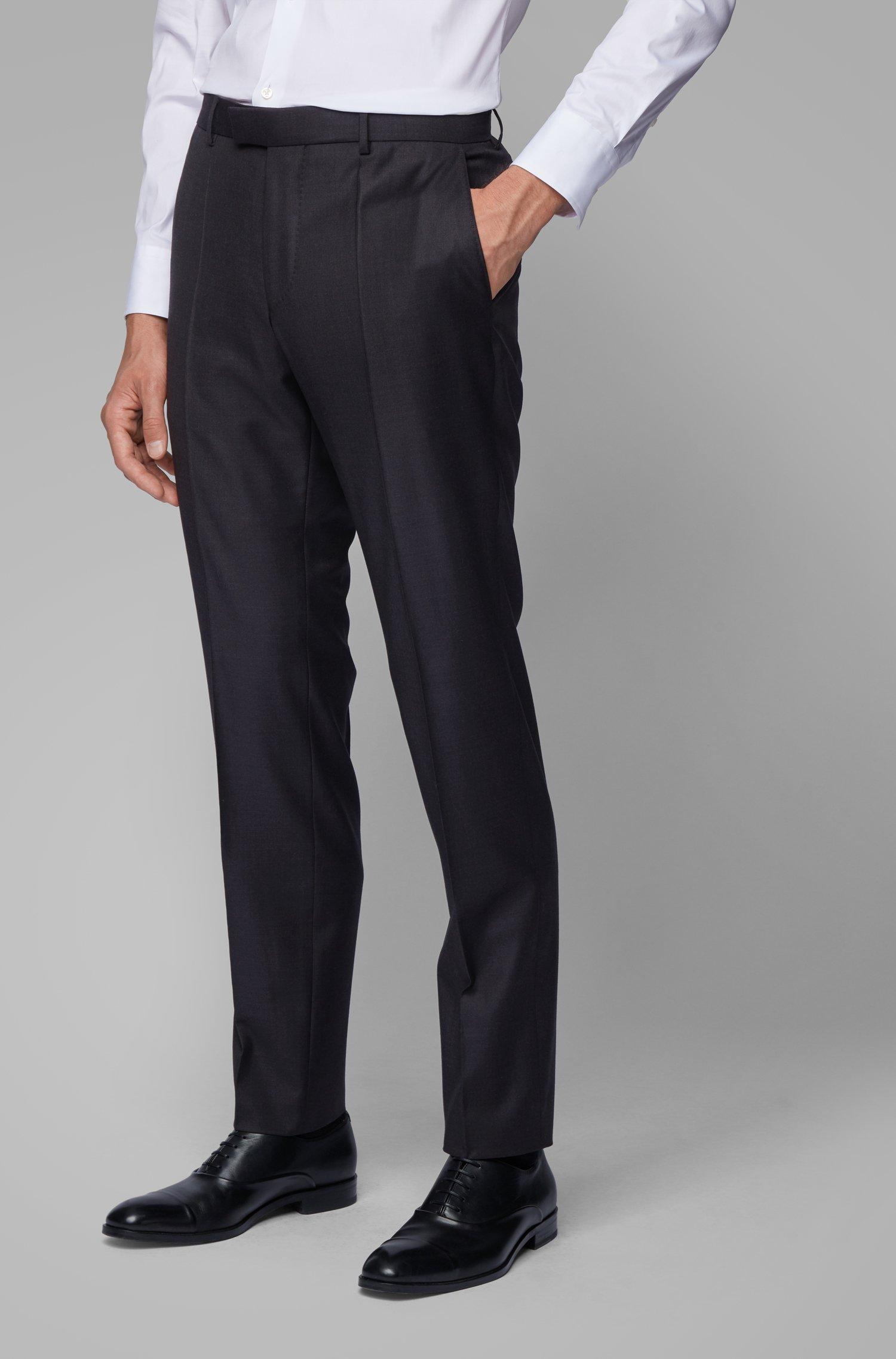 Slim-fit formal pants in virgin wool, Light Grey
