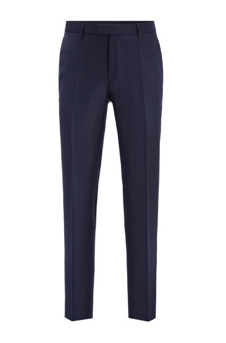 Pantalon business Slim Fit en laine vierge, Bleu foncé