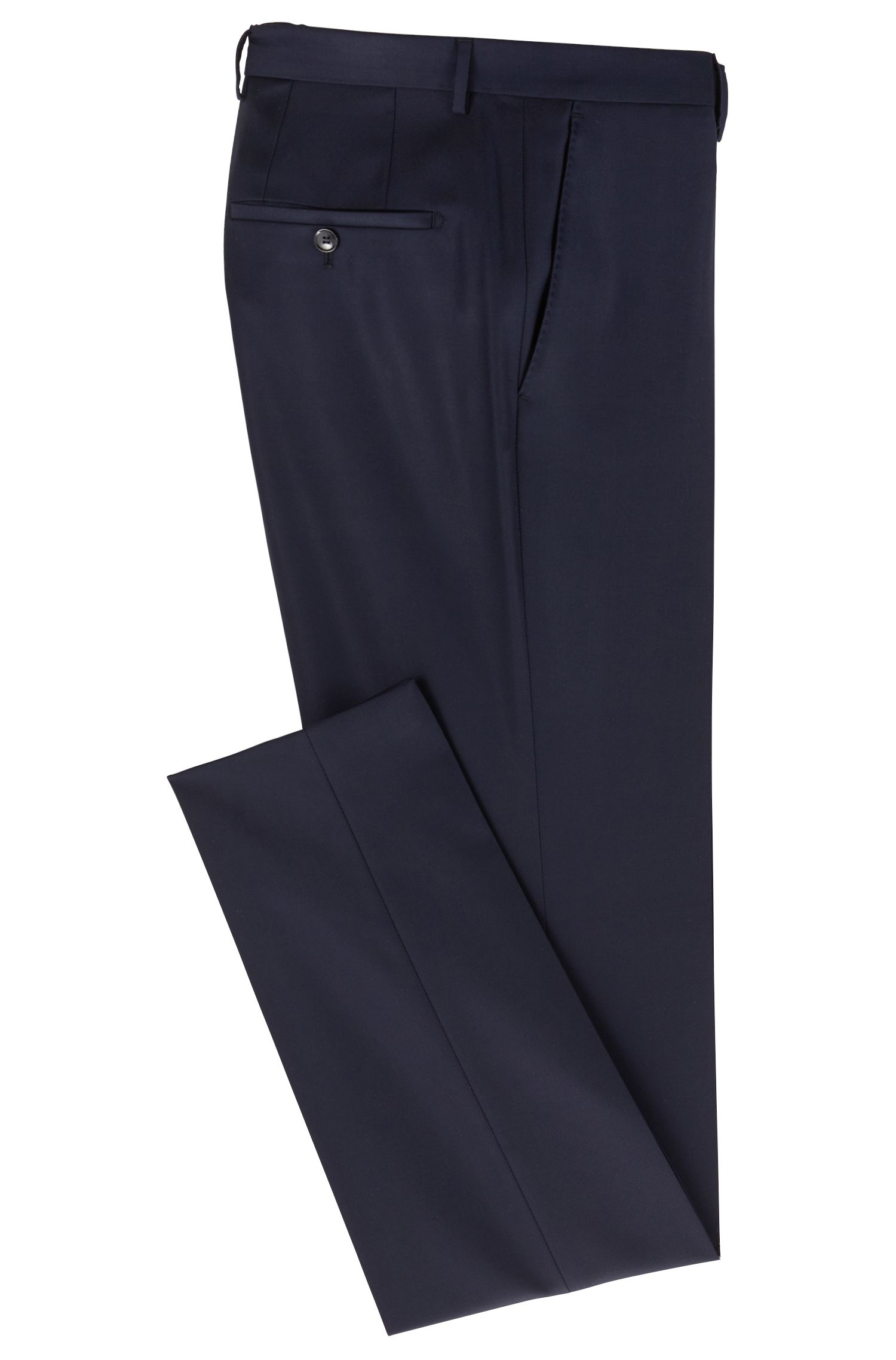 Slim-fit formal pants in virgin wool, Dark Blue