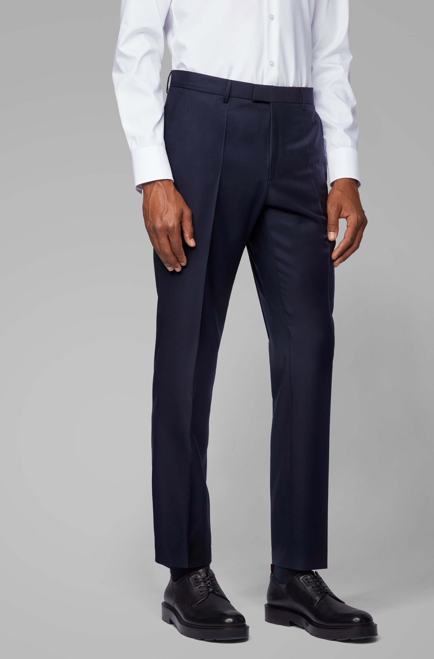 Slim-fit formal pants in virgin wool, Dark Blue