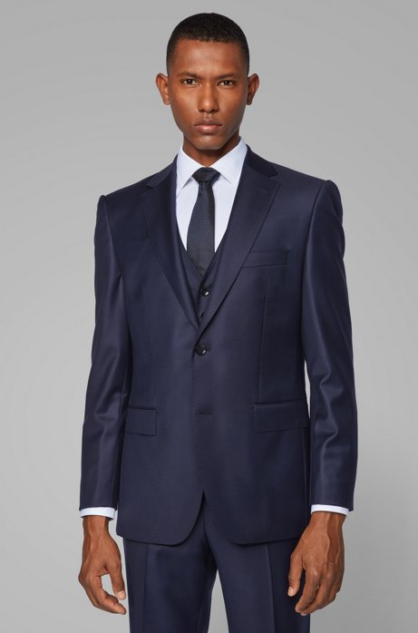Virgin-wool jacket in a regular fit, Dark Blue