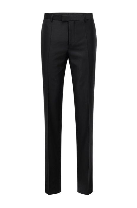 Regular-fit formal pants in virgin wool, Black