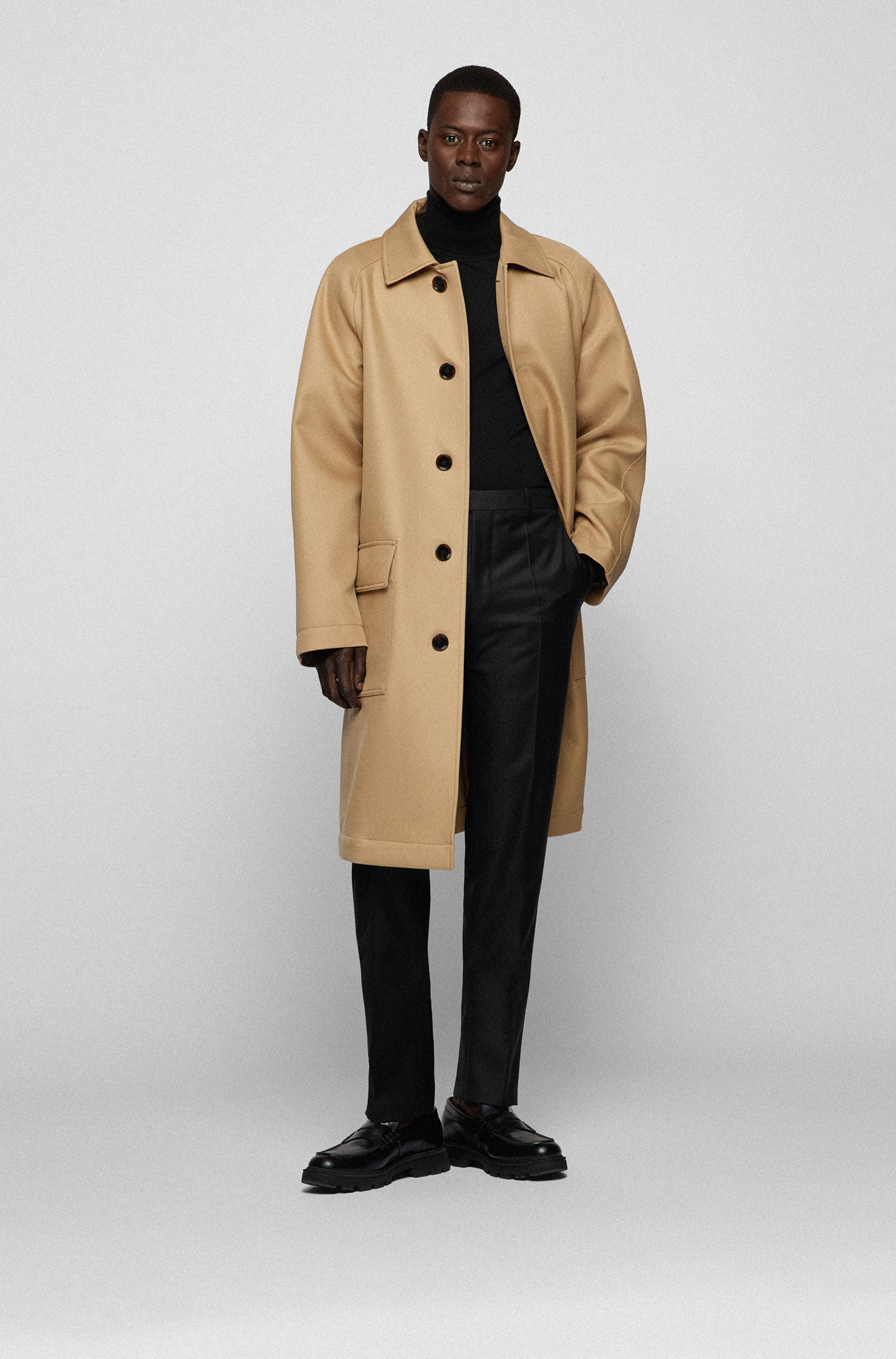 Regular-fit formal pants in virgin wool