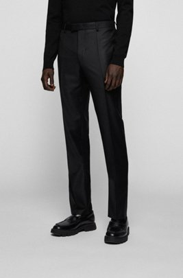 Regular-fit formal pants in virgin wool, Black