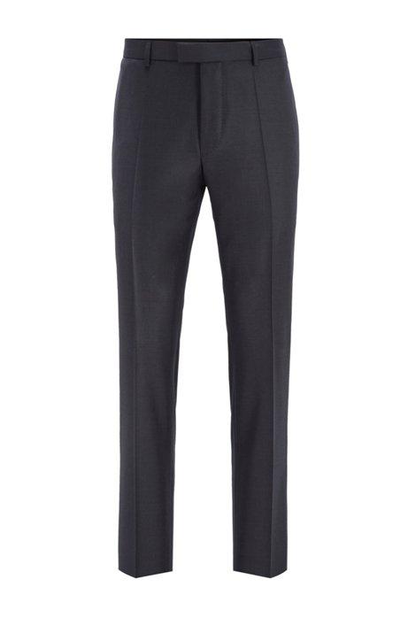 Regular-fit formal pants in virgin wool, Open Grey