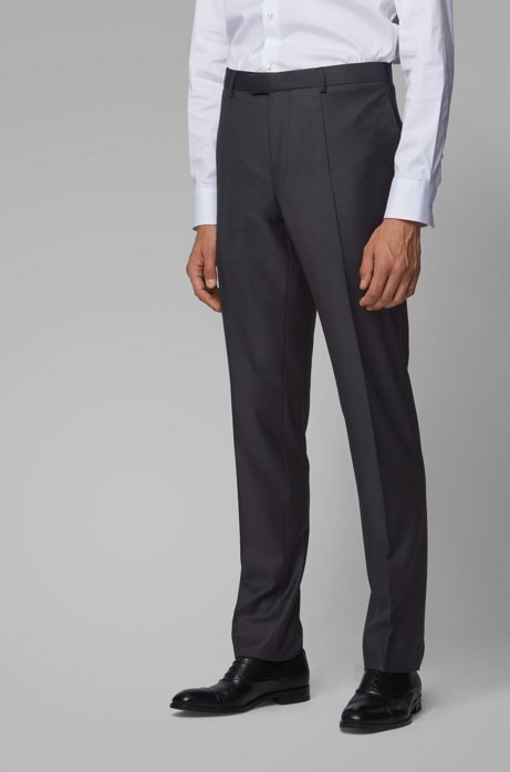Regular-fit formal pants in virgin wool, Open Grey