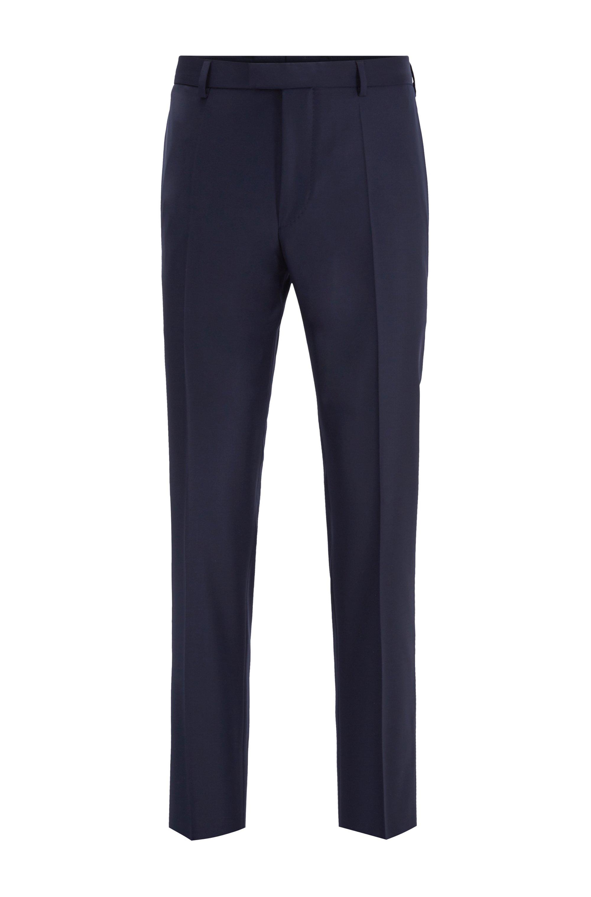 Regular-fit formal pants in virgin wool, Dark Blue