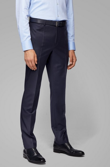 Regular-fit formal pants in virgin wool, Dark Blue