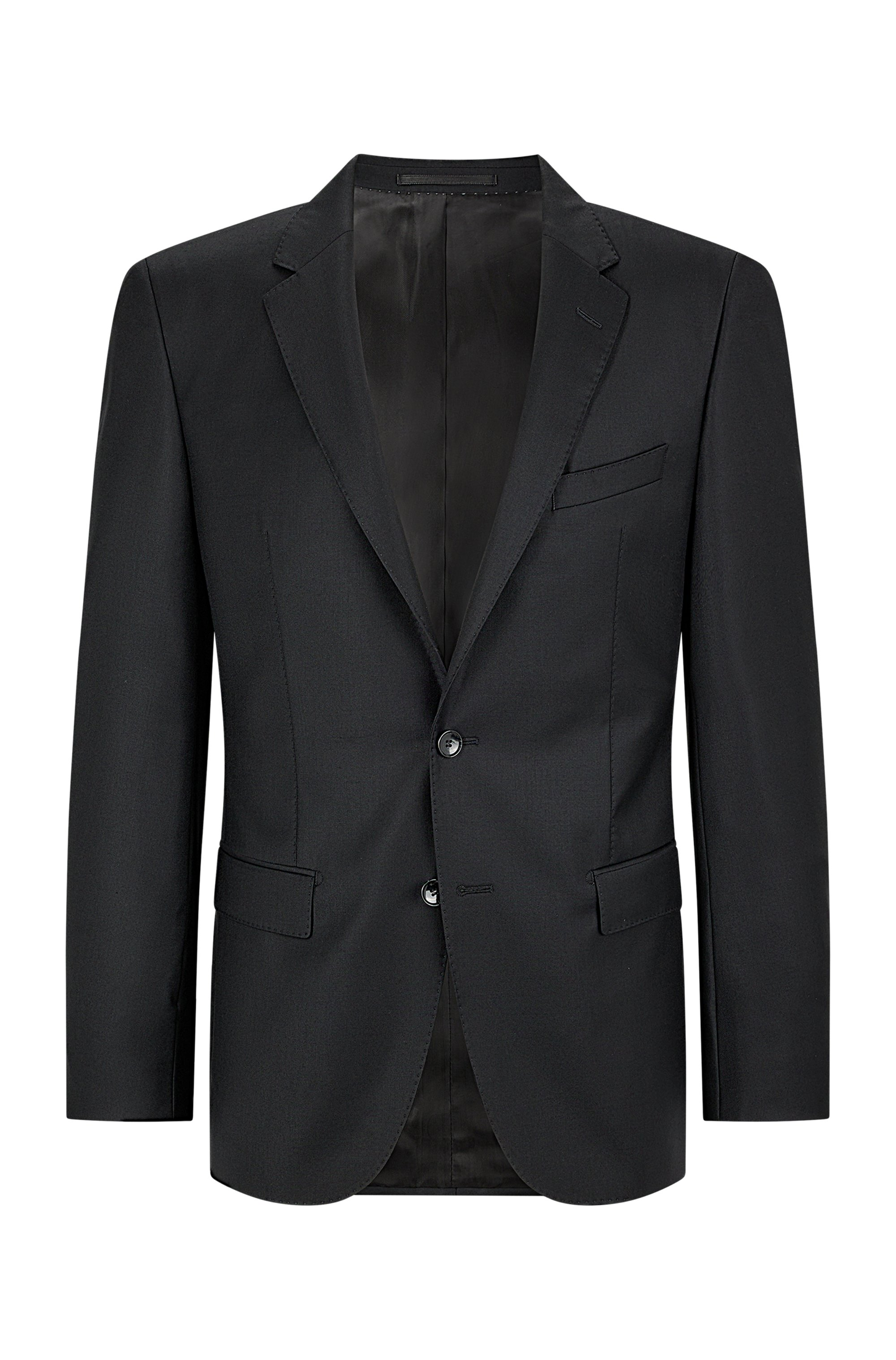 Slim-fit tailored jacket in mid-weight virgin wool, Black
