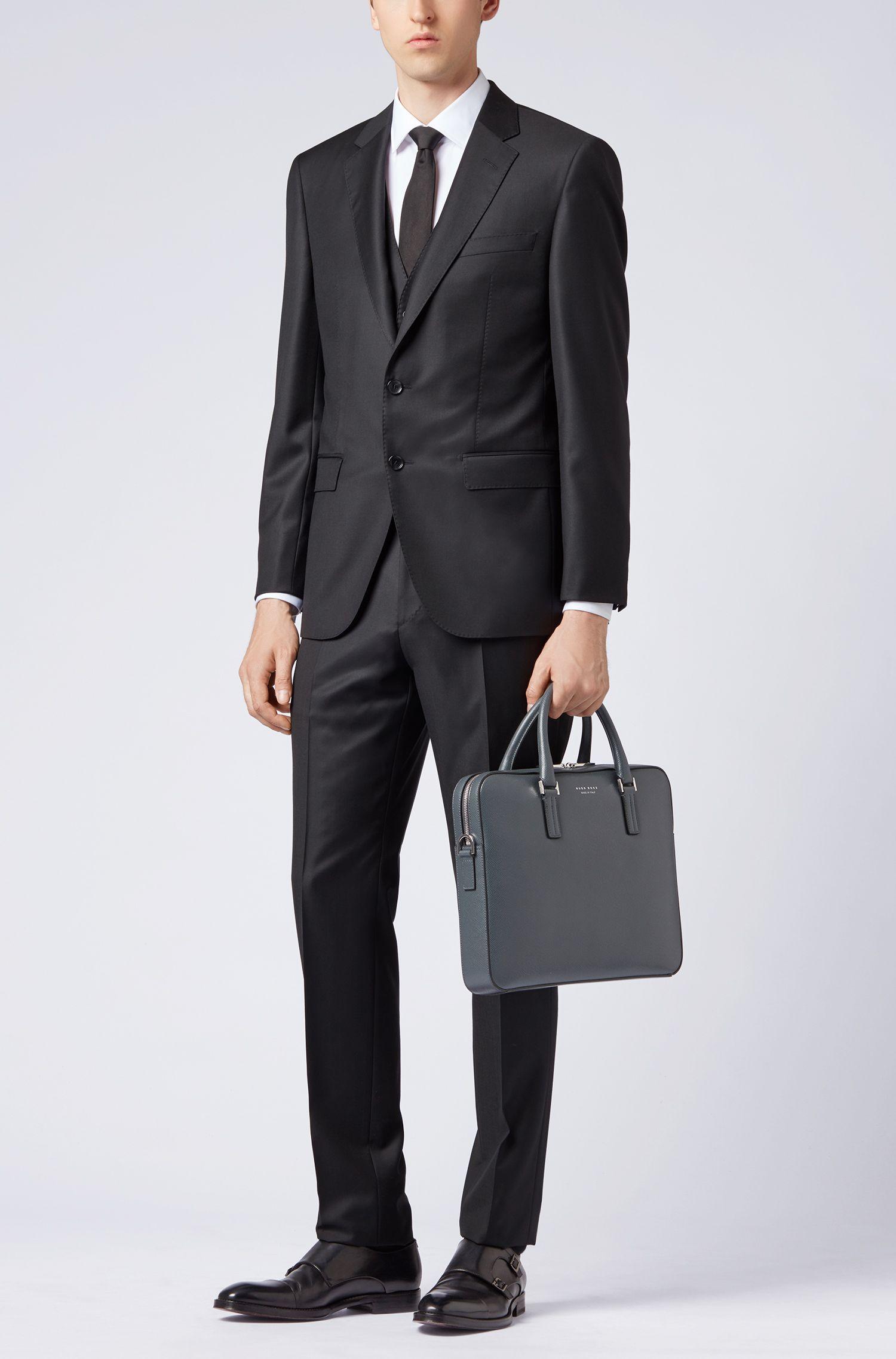 Slim-fit tailored jacket in mid-weight virgin wool, Black
