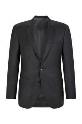 Slim-fit tailored jacket in mid-weight virgin wool, Light Grey