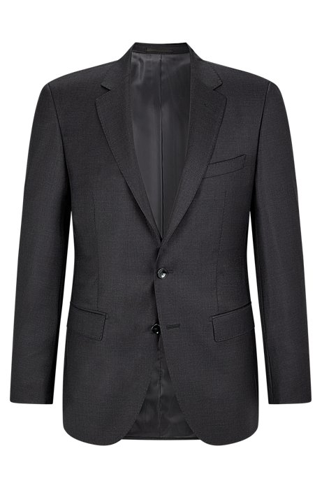 Slim-fit tailored jacket in mid-weight virgin wool, Open Grey