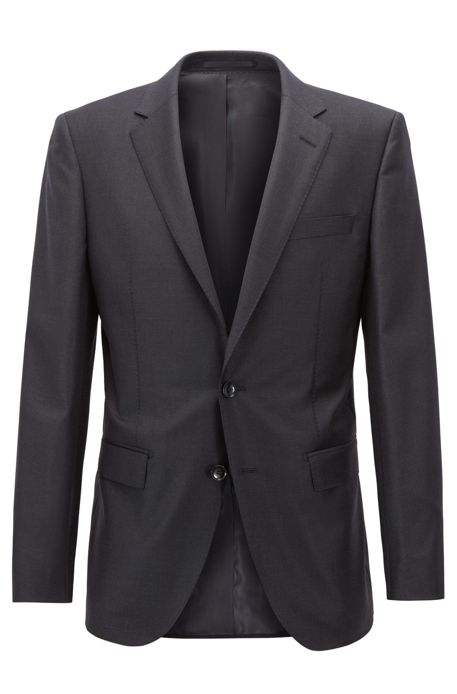 Slim-fit tailored jacket in mid-weight virgin wool, Open Grey