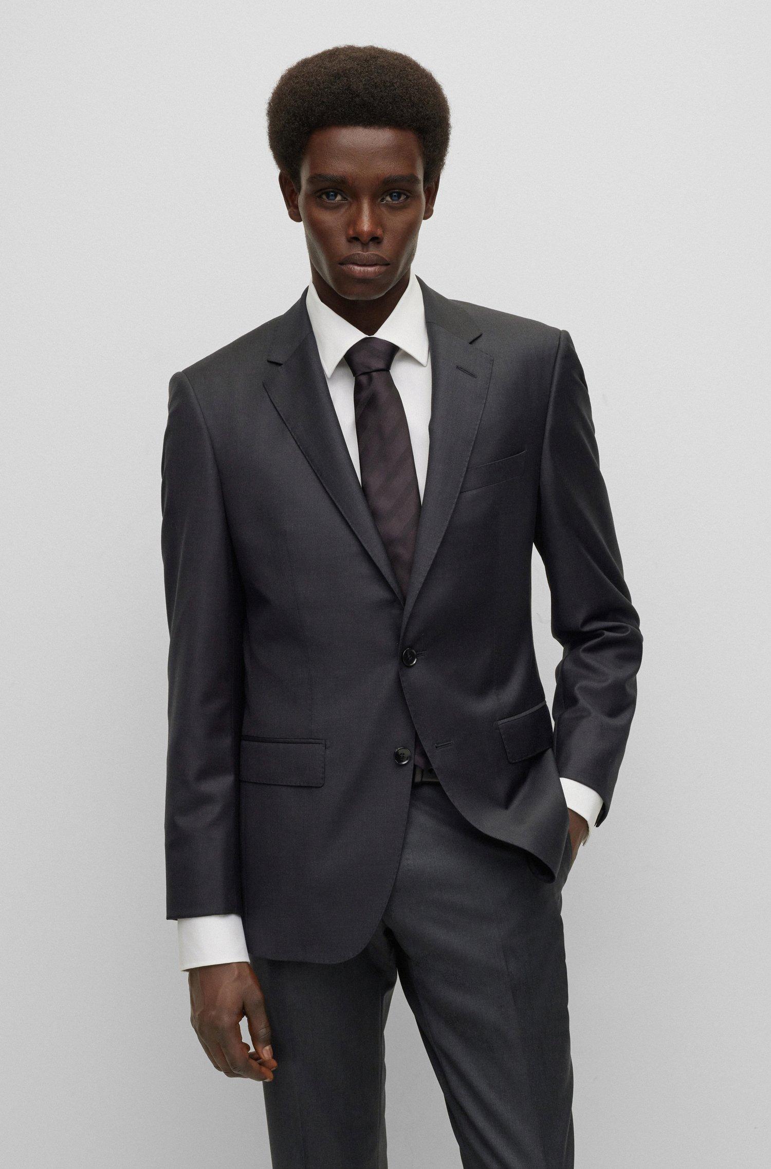 Slim-fit tailored jacket in mid-weight virgin wool, Light Grey