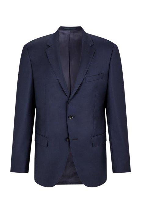 Slim-fit tailored jacket in mid-weight virgin wool, Dark Blue
