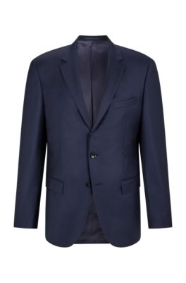 Slim-fit tailored jacket in mid-weight virgin wool, Dark Blue