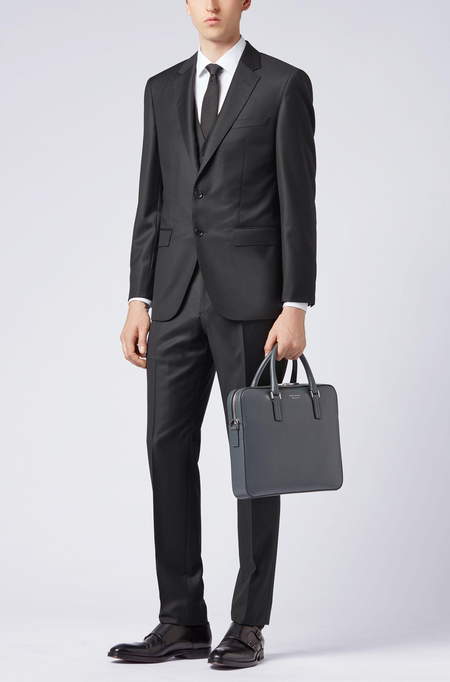 Tailored slim-fit waistcoat in virgin wool, Black