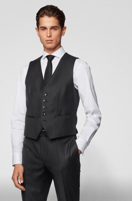 Tailored slim-fit waistcoat in virgin wool, Black