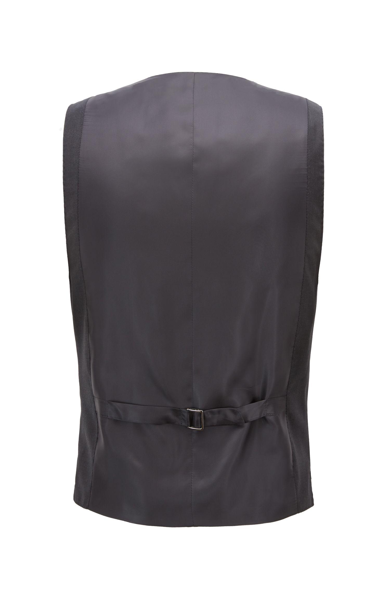 Tailored slim-fit waistcoat in virgin wool, Open Grey