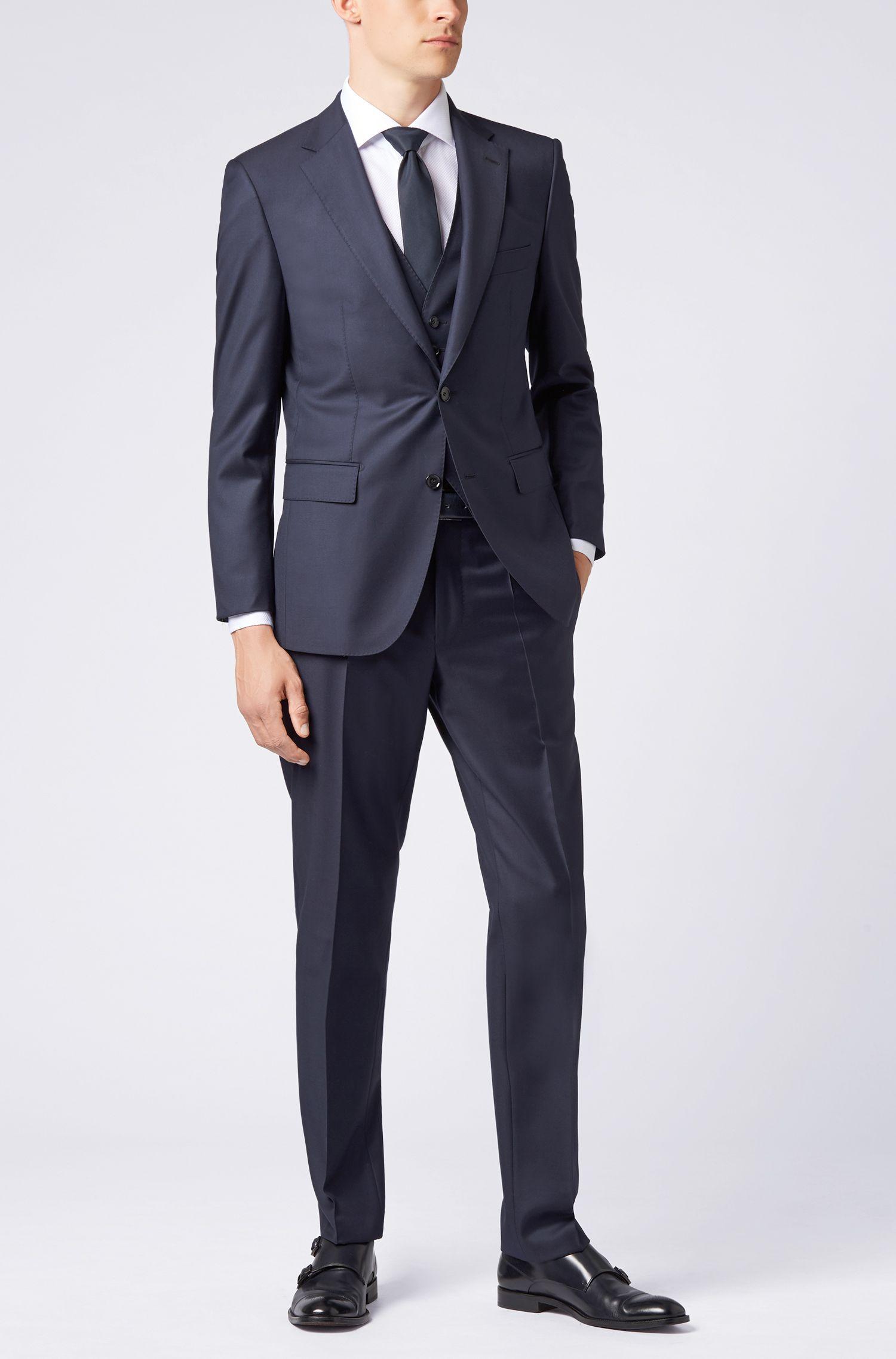 Tailored slim-fit waistcoat in virgin wool, Dark Blue