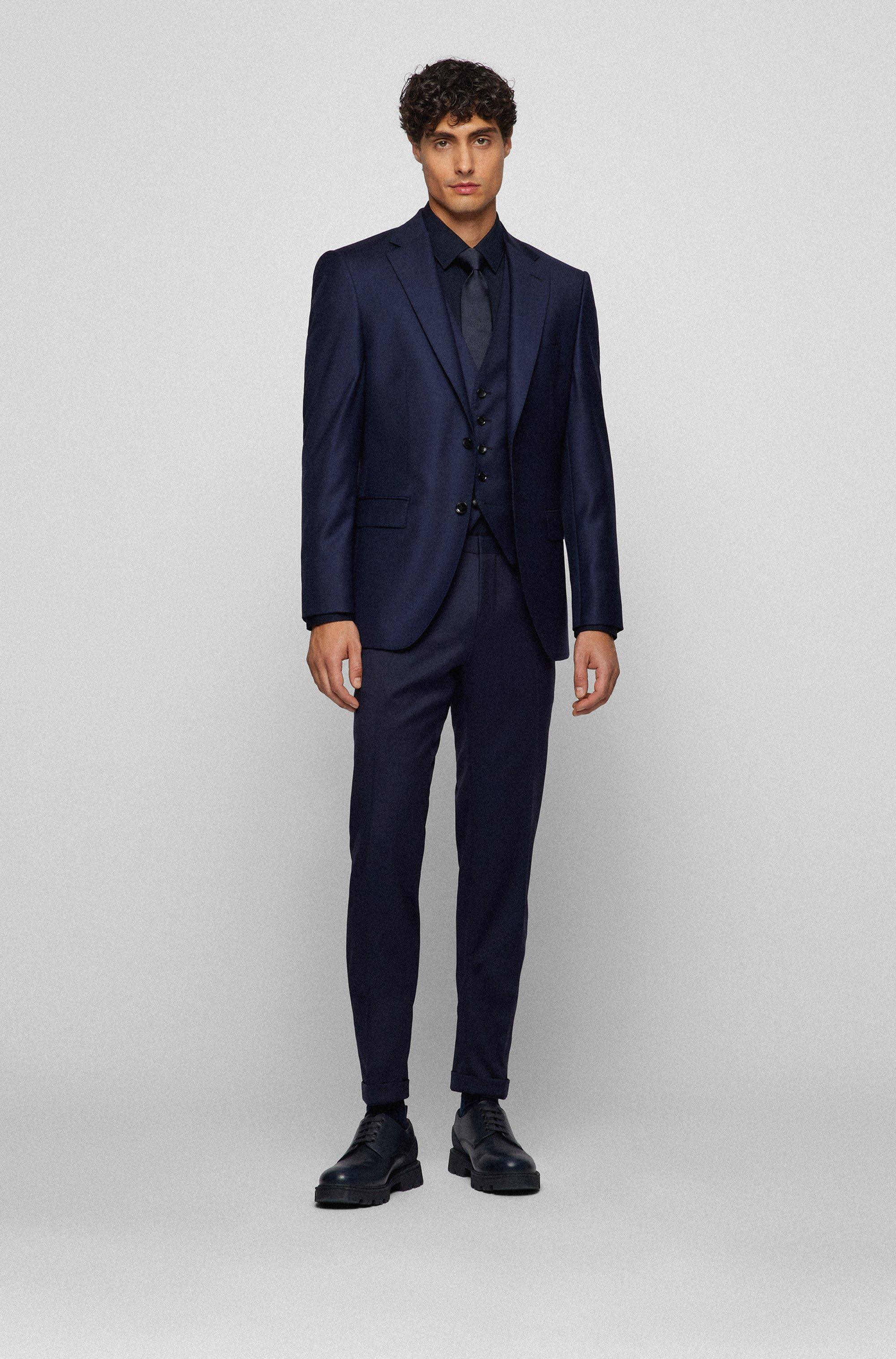 Tailored slim-fit waistcoat in virgin wool