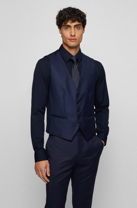 Tailored slim-fit waistcoat in virgin wool, Dark Blue