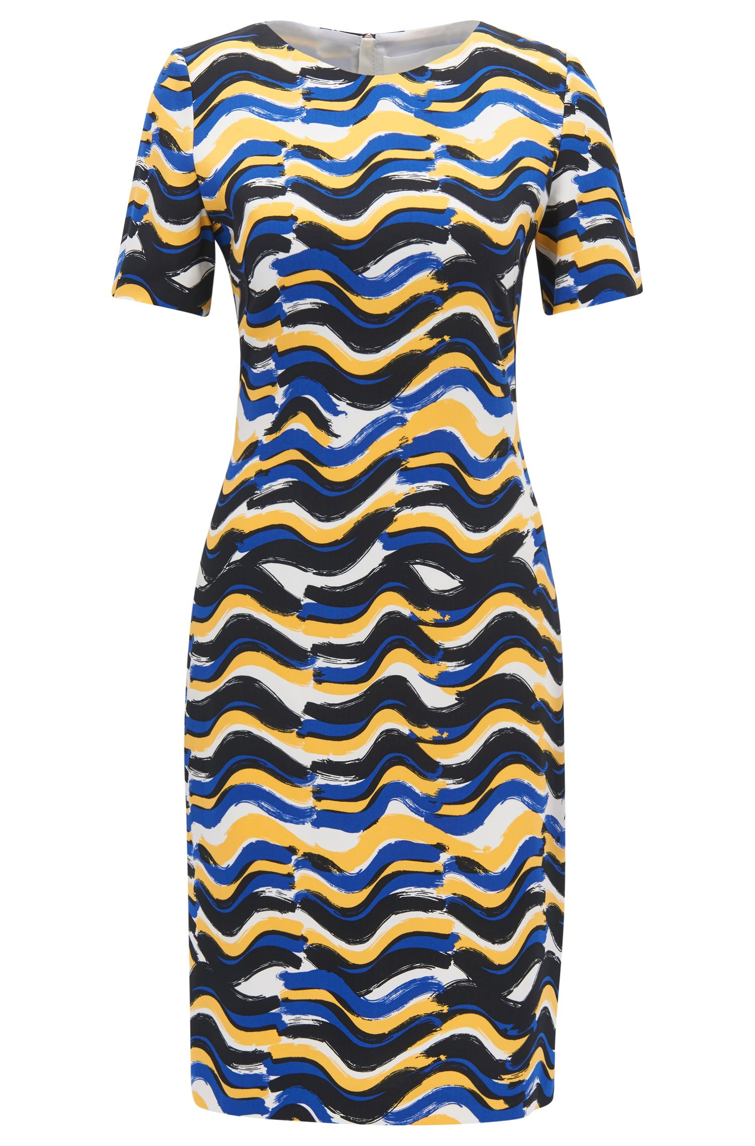 Wave-Print Sheath Dress | Dashiba, Patterned