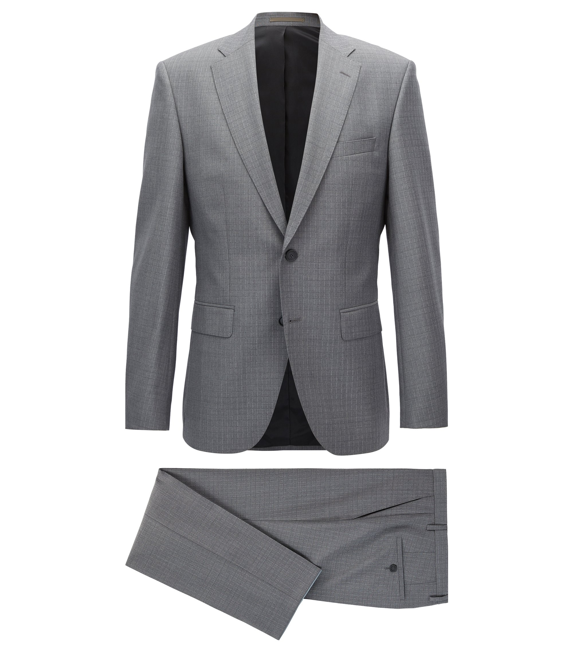 Grid Check Virgin Wool Suit, Regular Fit | Jets/Lenon, Grey
