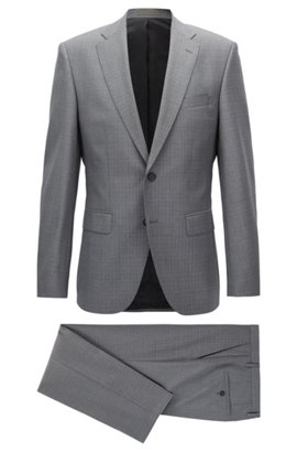 BOSS Hugo Boss Italian Wool Suit, Regular Fit Johnstons/Lenon 40R Black