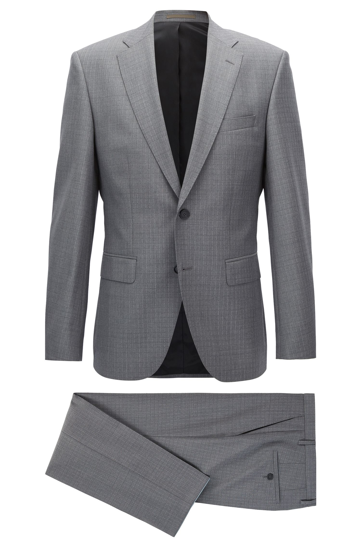 Grid Check Virgin Wool Suit, Regular Fit | Jets/Lenon
