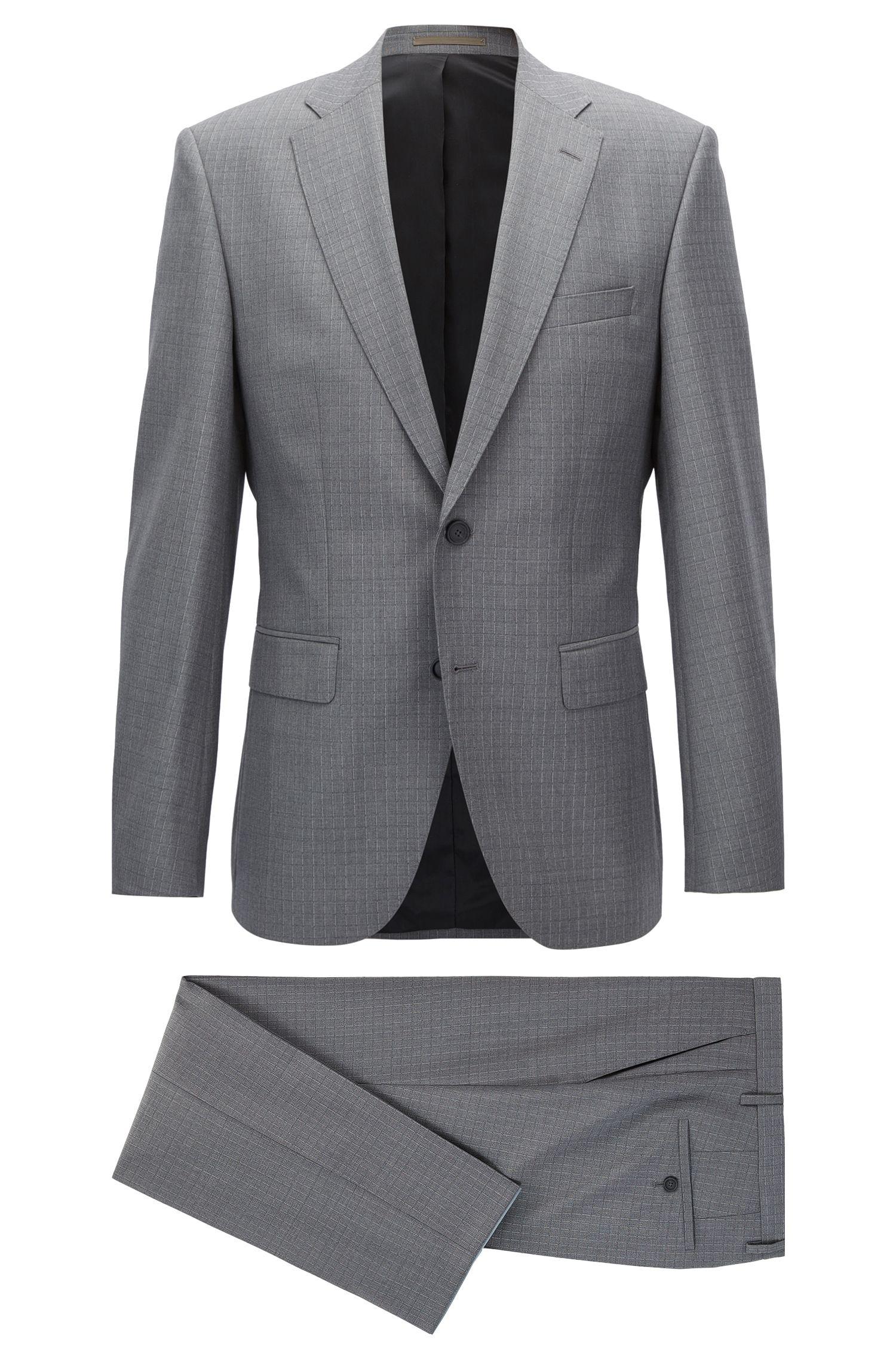 Grid Check Virgin Wool Suit, Regular Fit | Jets/Lenon, Grey
