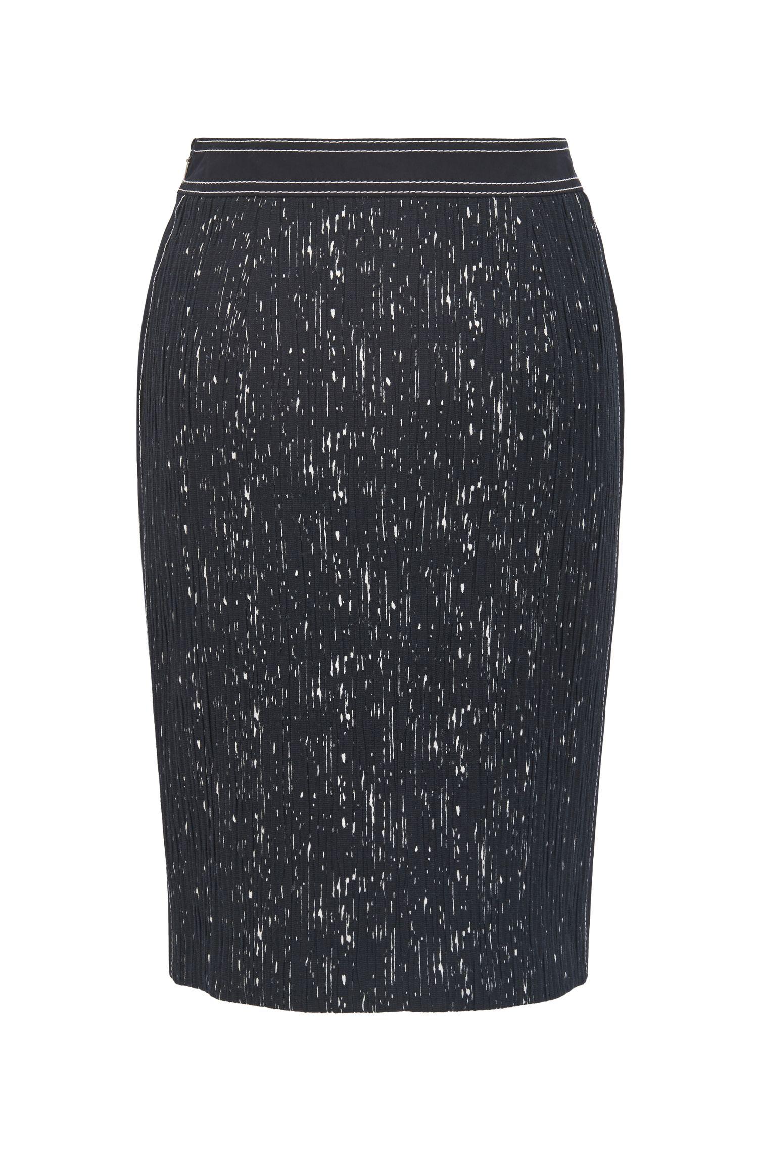 Patterned Plissé Pencil Skirt | Veleara, Patterned