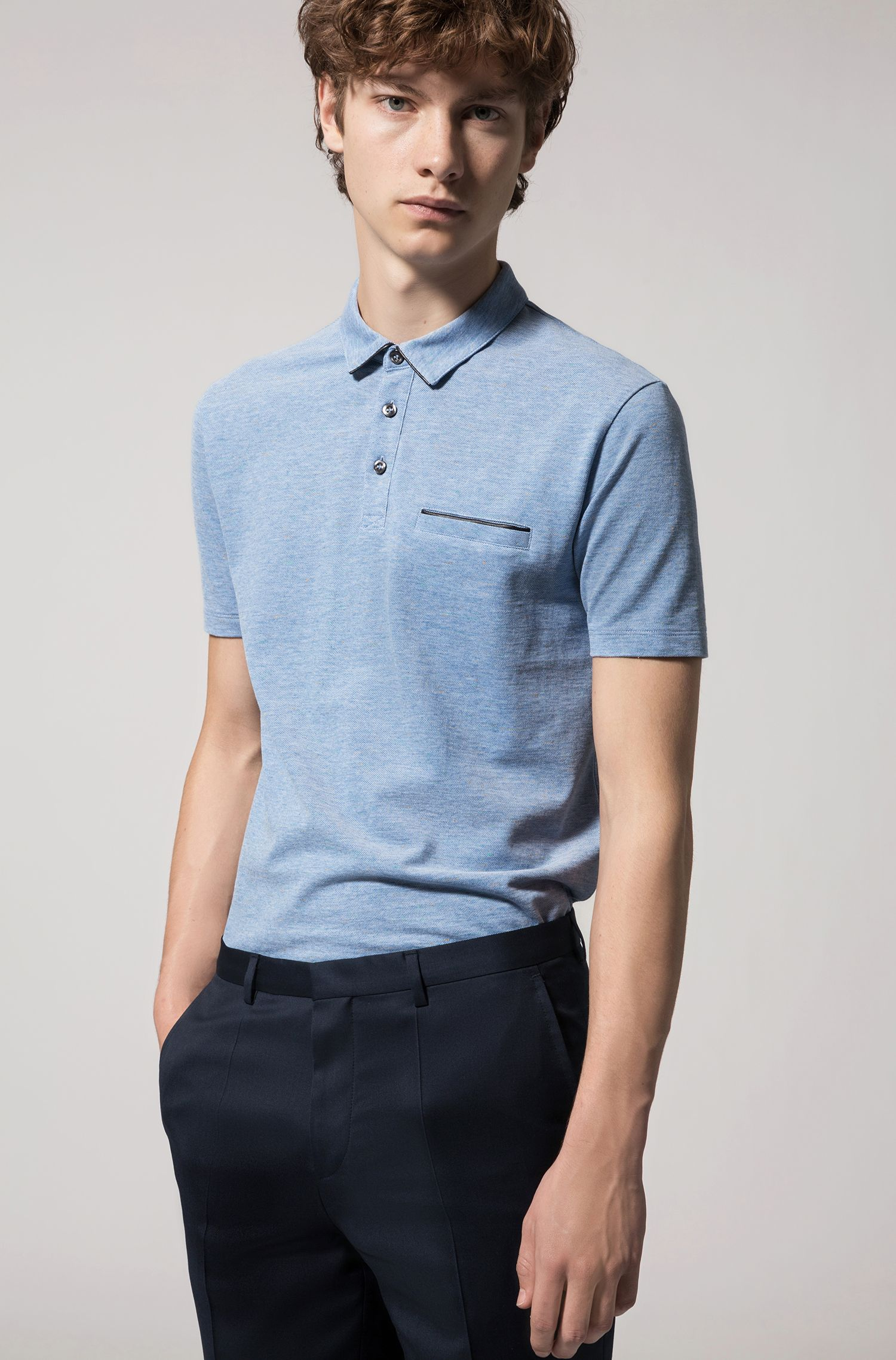 Cotton Polo Shirt, Slim Fit | Darrow, Open Blue