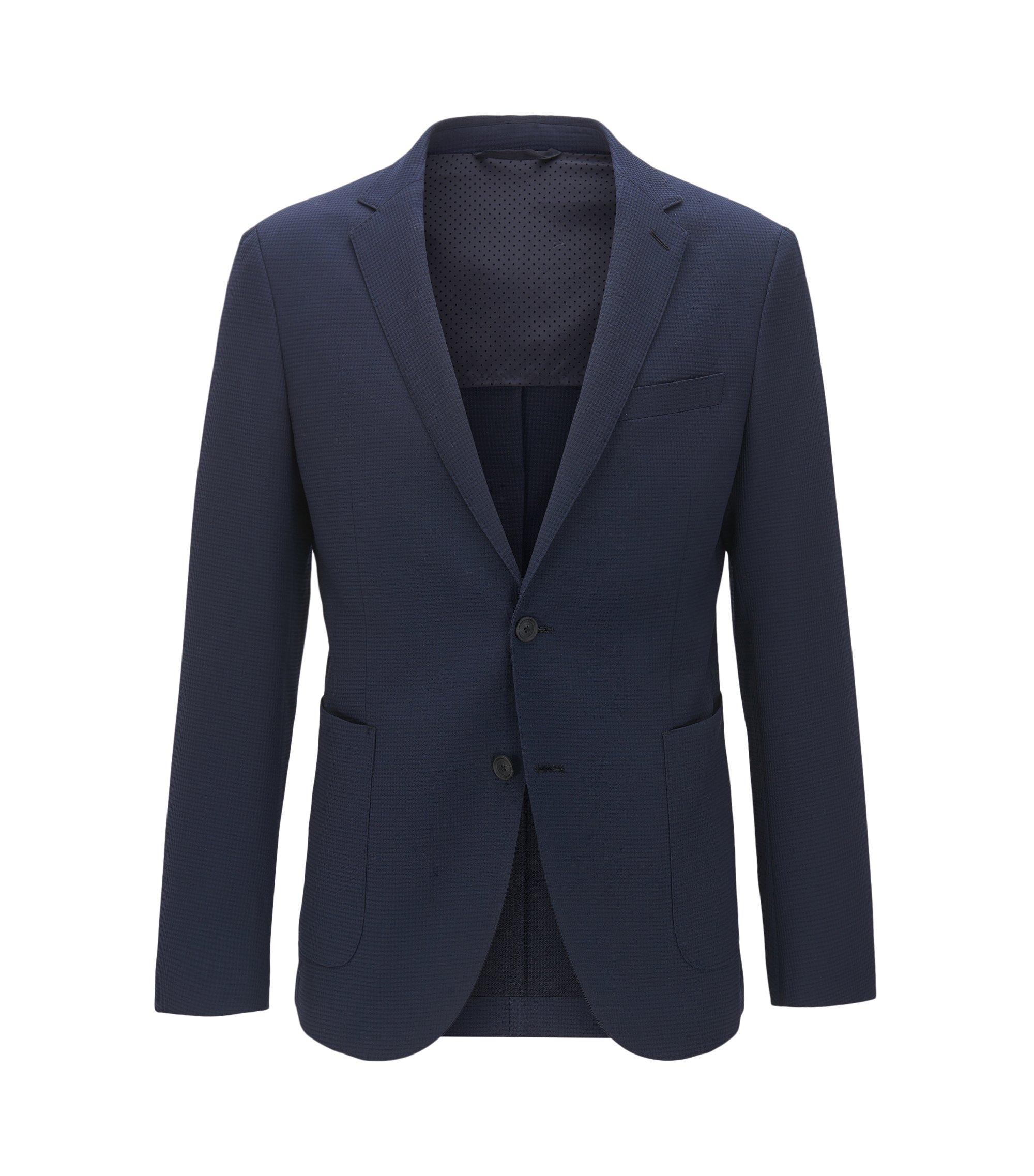 Virgin Wool Blend Sport Coat, Slim Fit | Nelven, Dark Blue