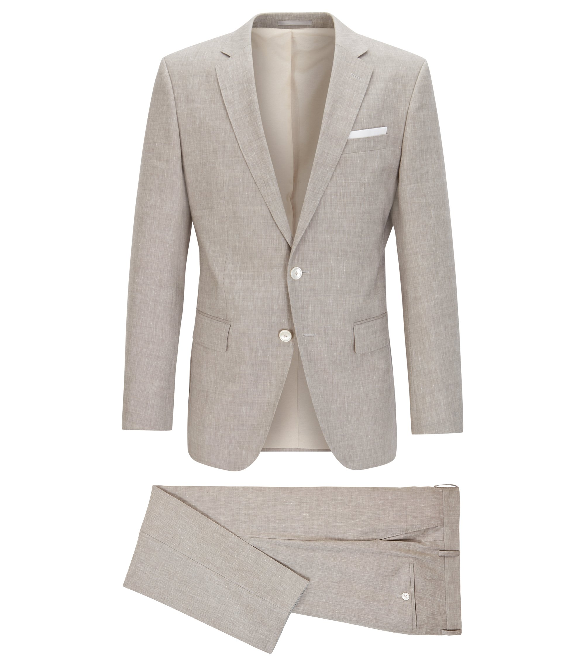 Wool Linen Suit, Slim Fit | Hutson/Gander, Beige