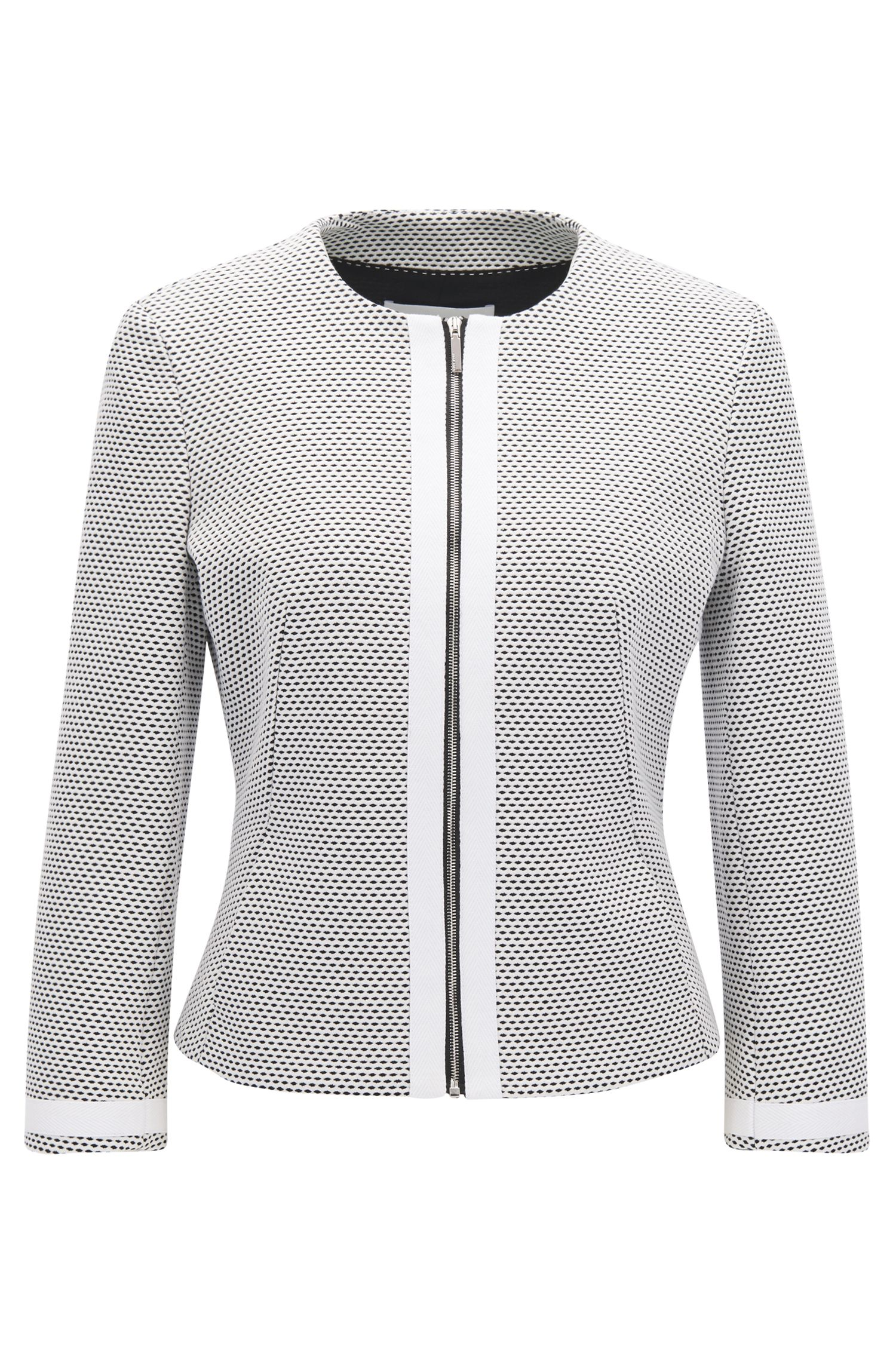 Cotton Knit Zip Jacket | Kaily, Patterned