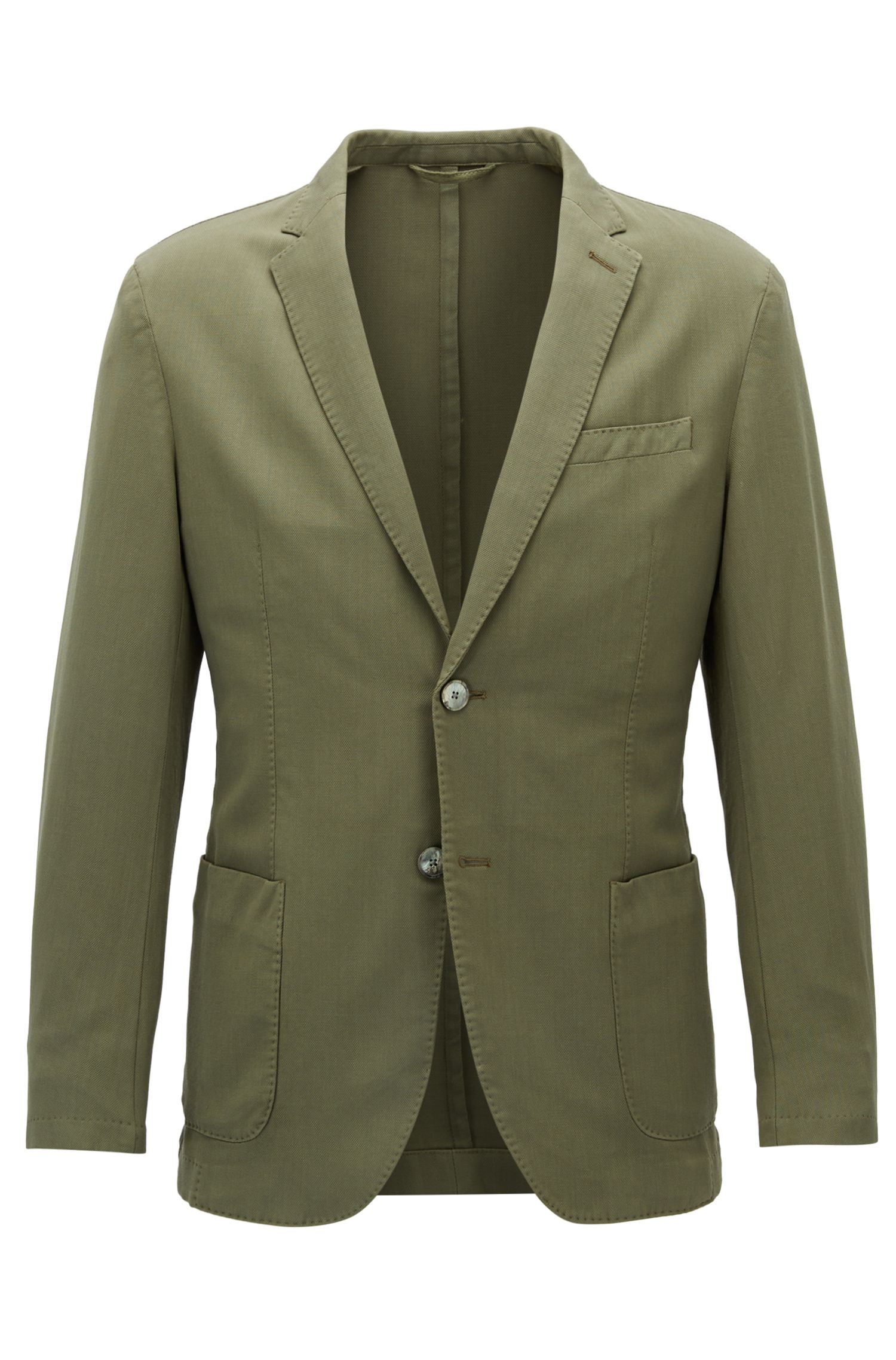 Virgin Wool Sport Coat, Slim Fit | Hanry D, Open Green