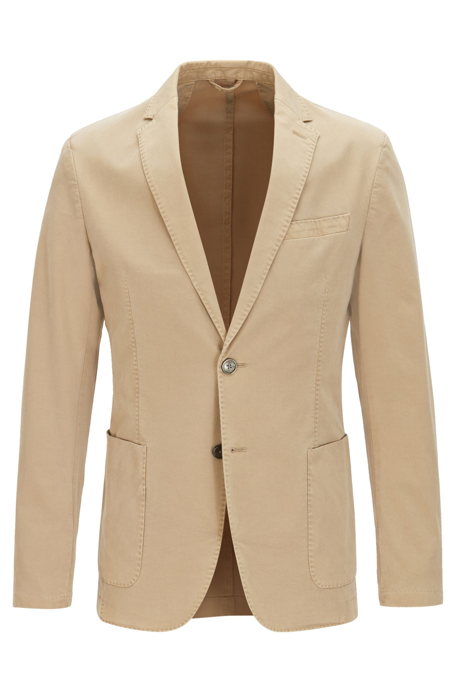 Garment-Dyed Stretch Cotton Sport Coat, Slim Fit | Hanry D, Beige