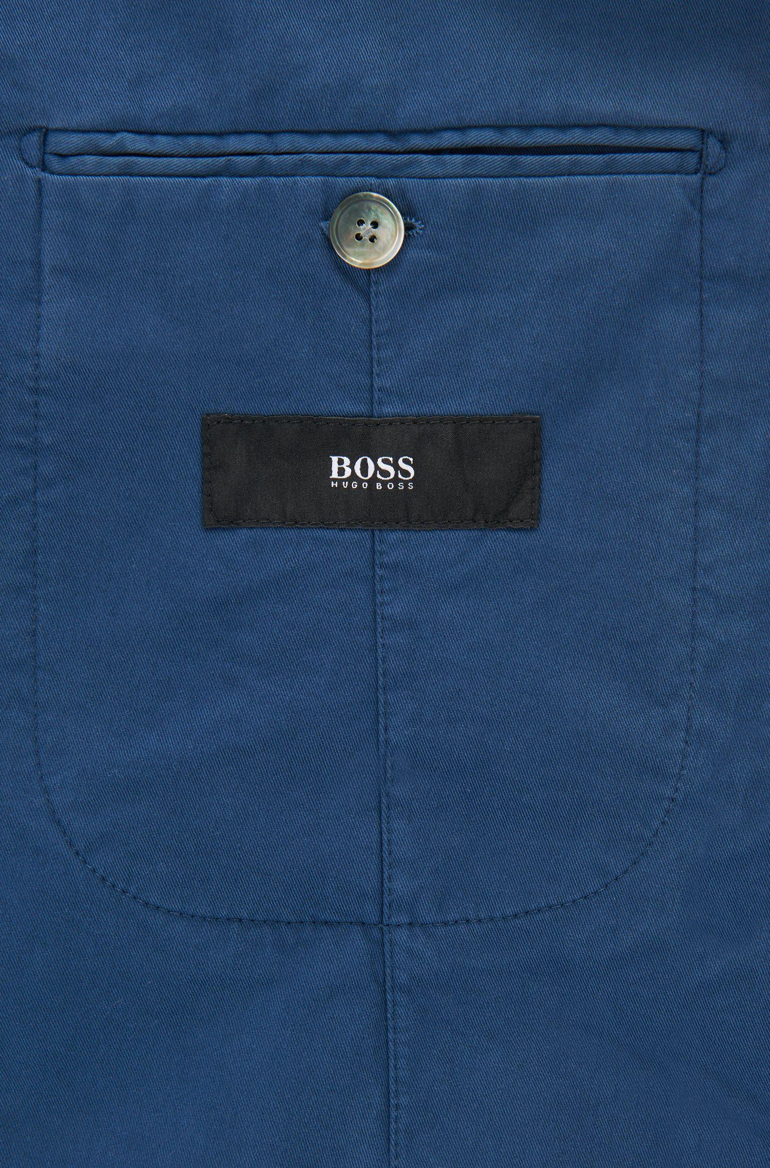 Garment-Dyed Stretch Cotton Sport Coat, Slim Fit | Hanry D, Open Blue