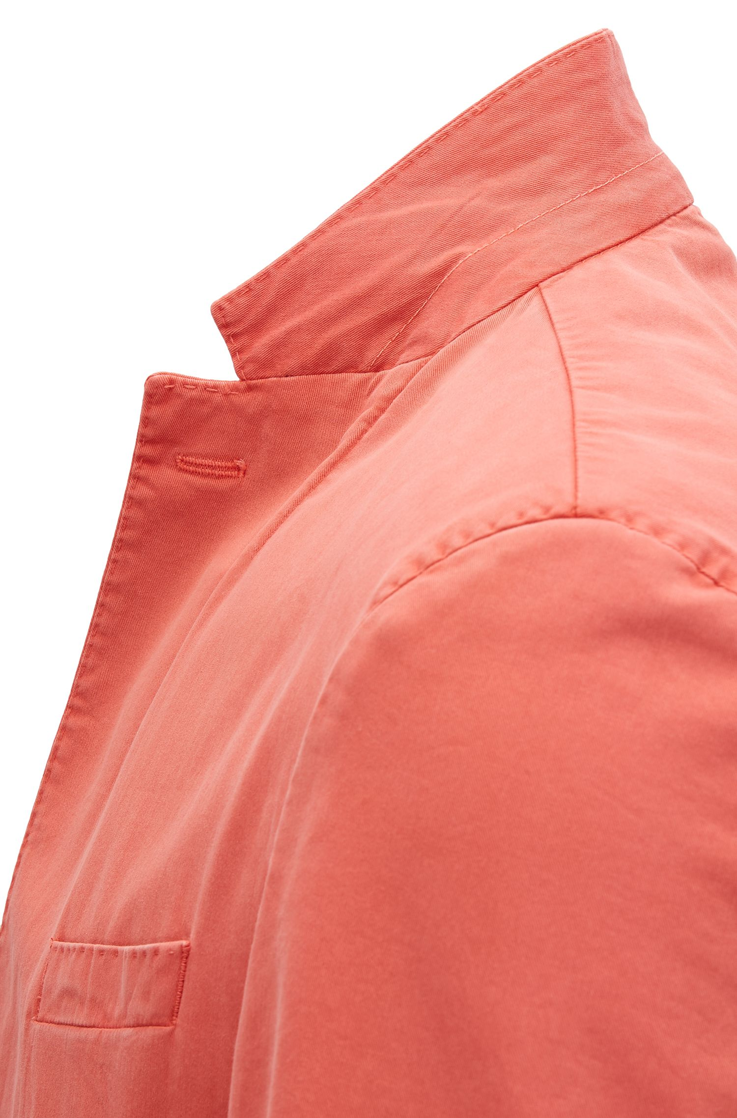 Garment-Dyed Stretch Cotton Sport Coat, Slim Fit | Hanry D, Dark Orange