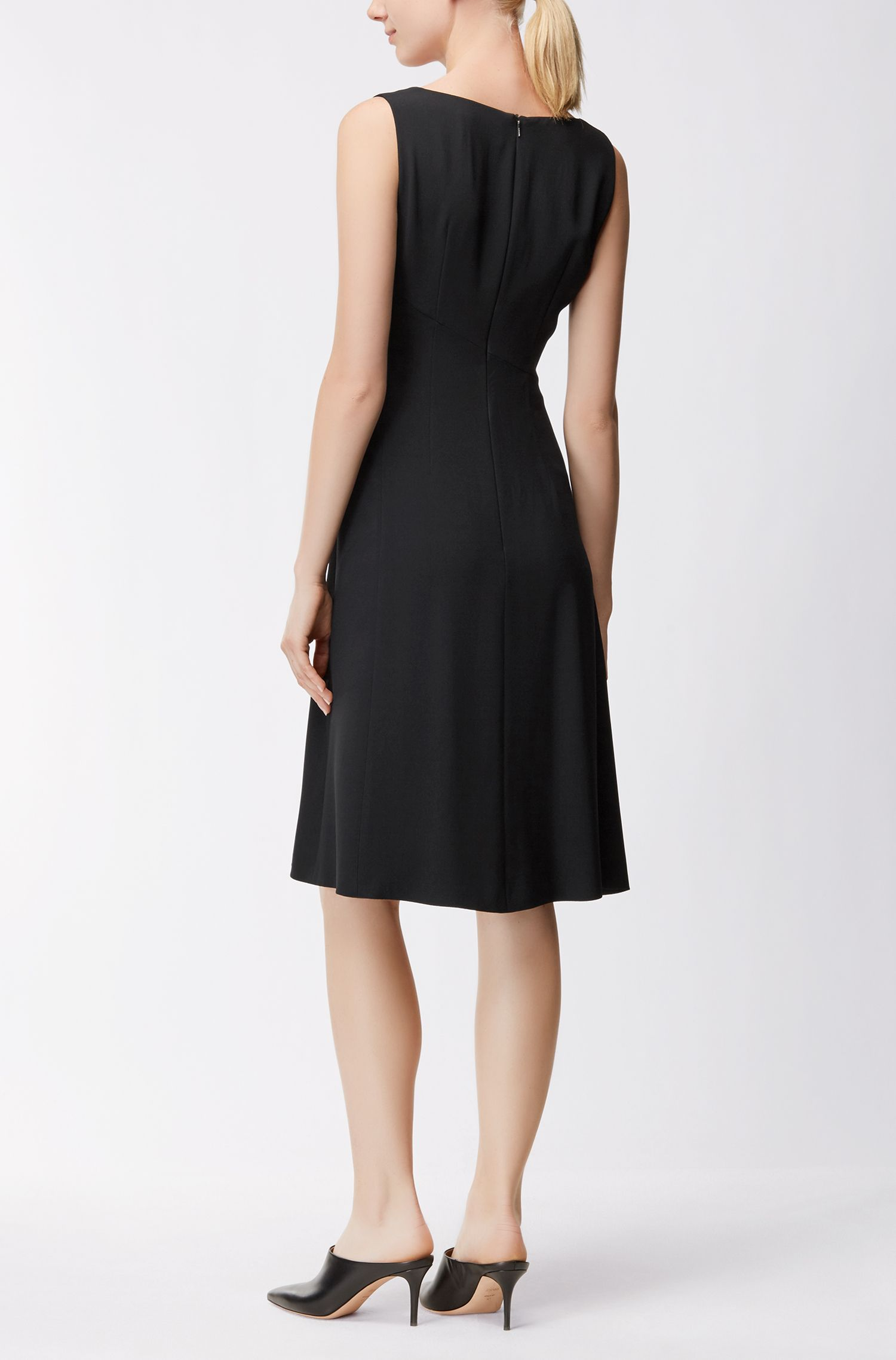 V-Neck A-Line Dress | Demana, Black