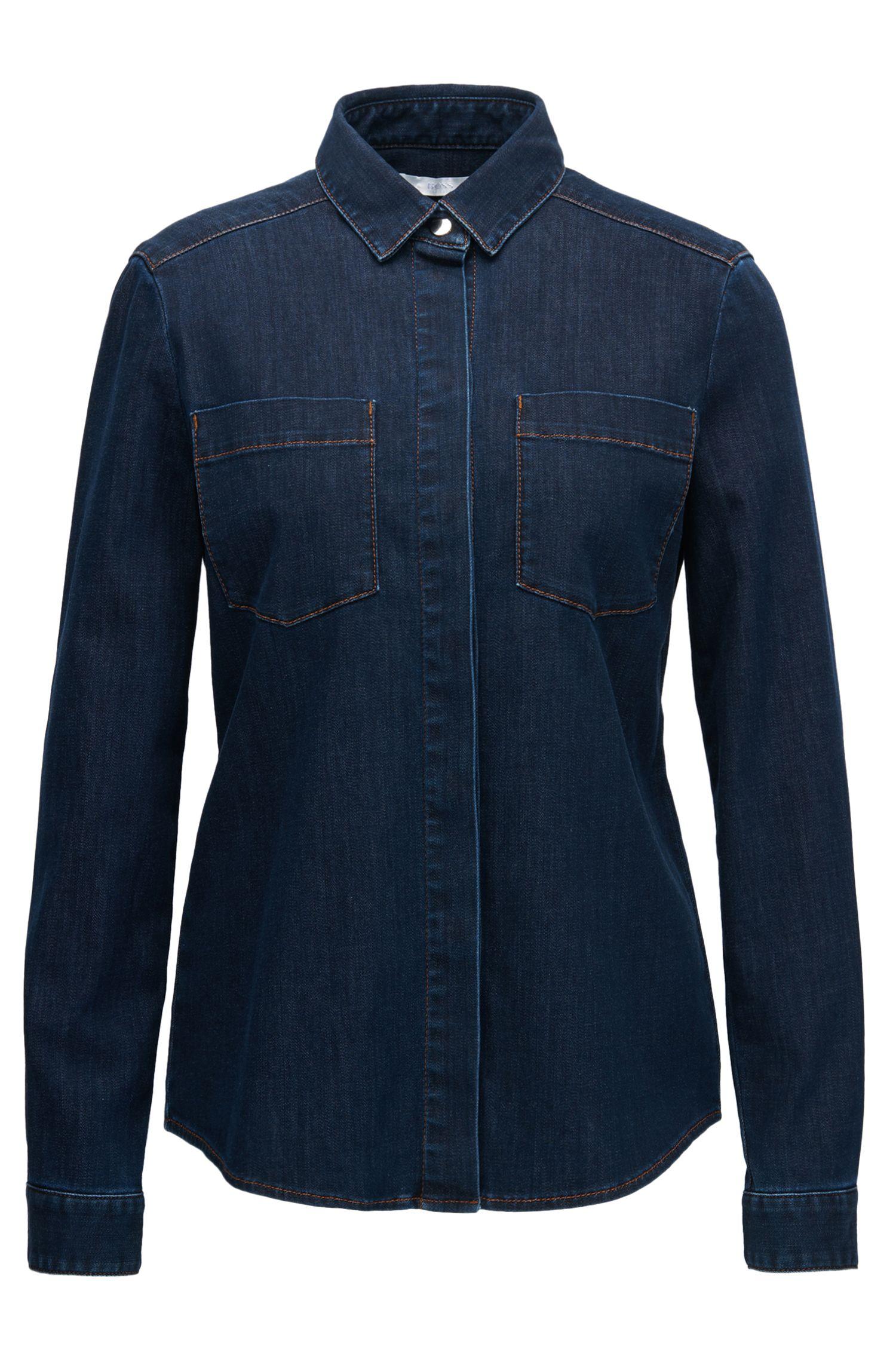 Dark Wash Denim Shirt  | Noura, Dark Blue