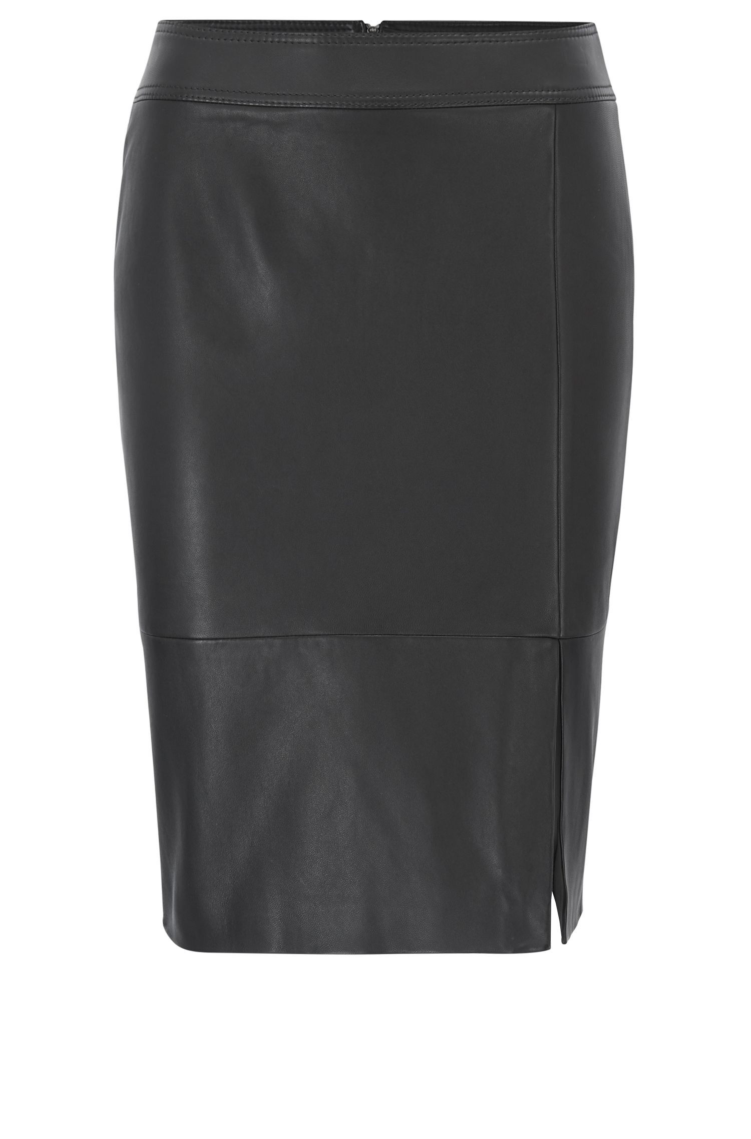 Lambskin Leather Skirt | Sefina, Black